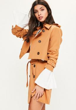 Tan Cropped Trench Jacket