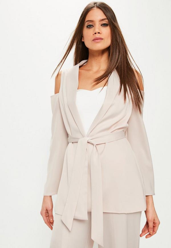 Pink Cold Shoulder Tie Waist Satin Blazer