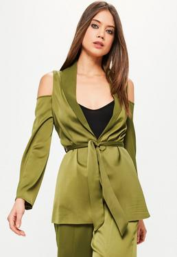 Khaki Cold Shoulder Tie Waist Satin Blazer