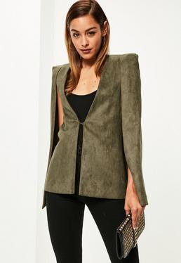 Blazer-cape Premium vert kaki en suédine