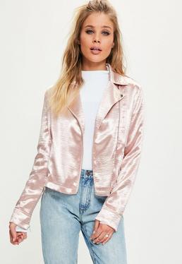 Veste rose zippée effet soyeux