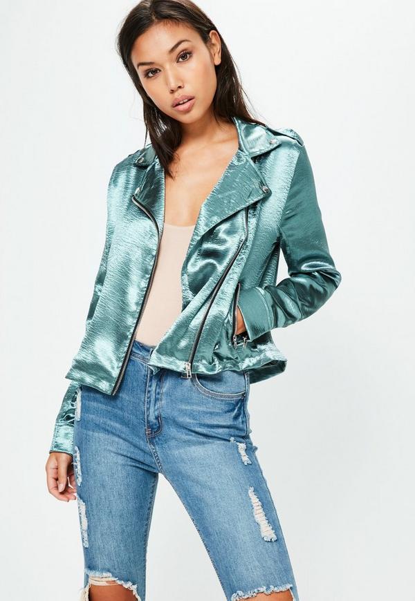 Blue Satin Zip Through Jacket