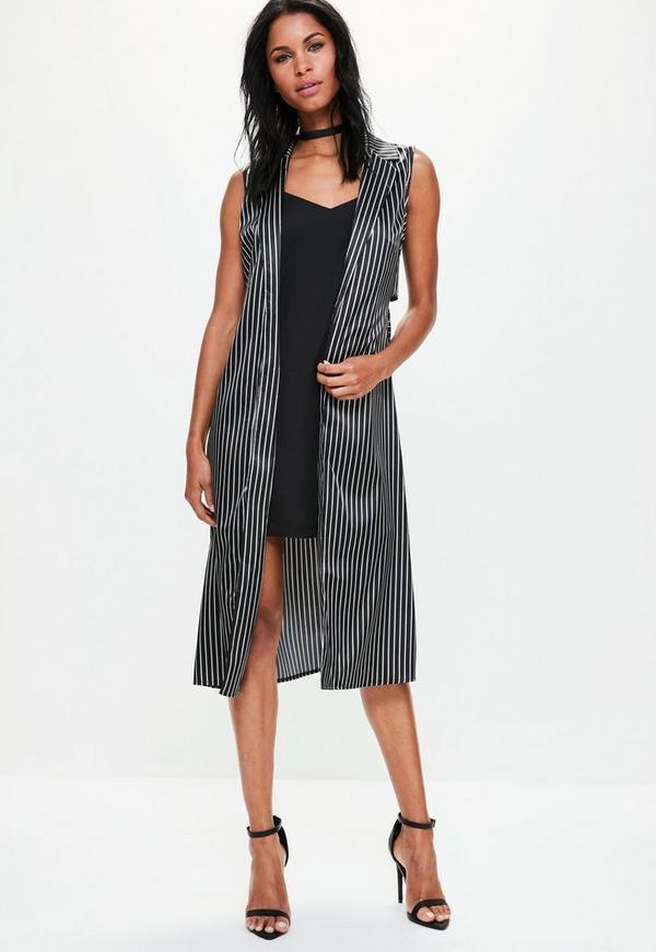 Black Sleeveless Satin Striped Tie Waist Duster Jacket