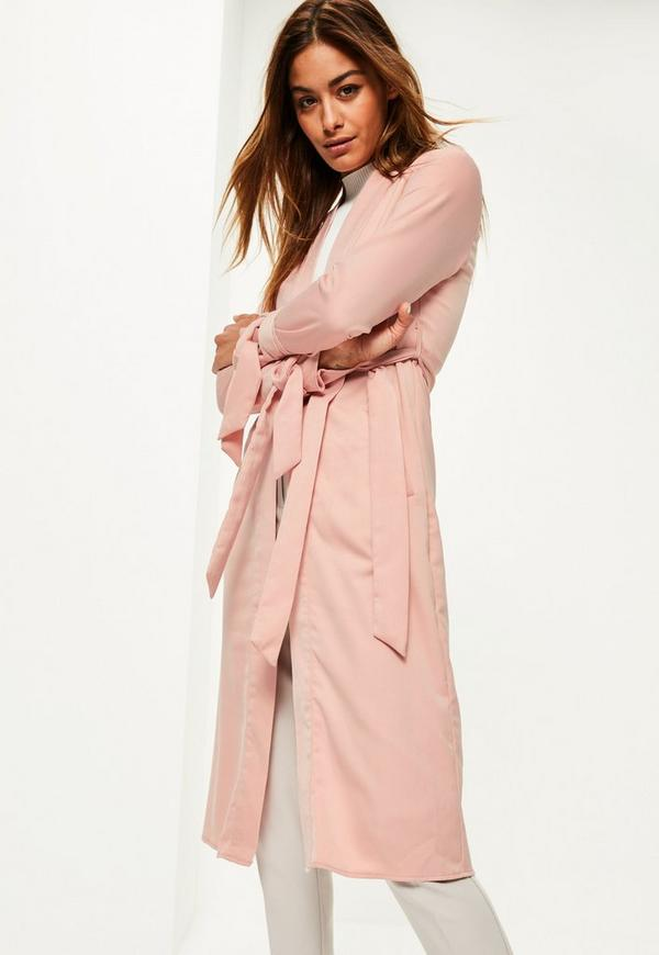 Pink Tie Cuff Duster Coat