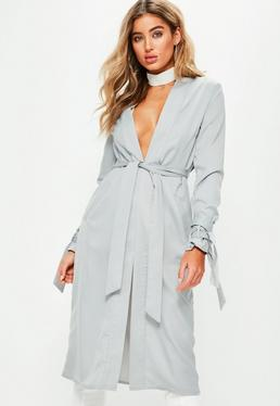 Grey Tie Cuff Collarless Duster Jacket