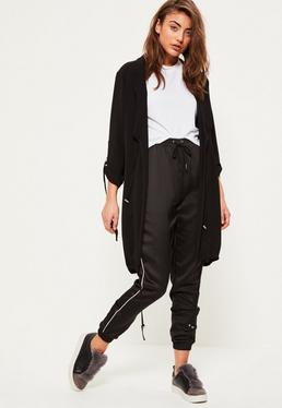 Black Bubble Crepe Gathered Waist Duster Jacket