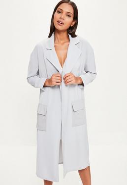 Grey Chiffon Patch Pocket Woven Duster Jacket