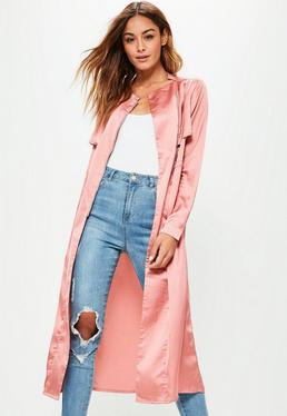 Pink Satin Gathered Waist Biker Detail Duster Jacket