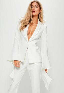 White Extreme Frill Sleeve Crepe Tailored Blazer