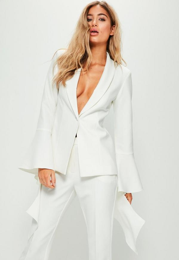 White Extreme Frill Sleeve Crepe Tailored Blazer