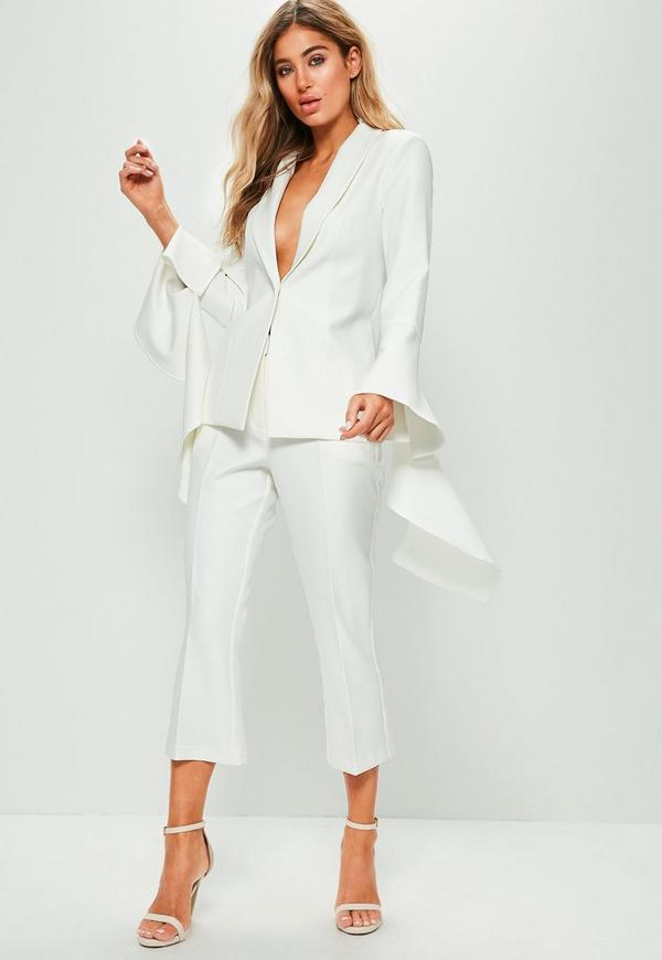White Extreme Frill Sleeve Crepe Tailored Blazer | Missguided