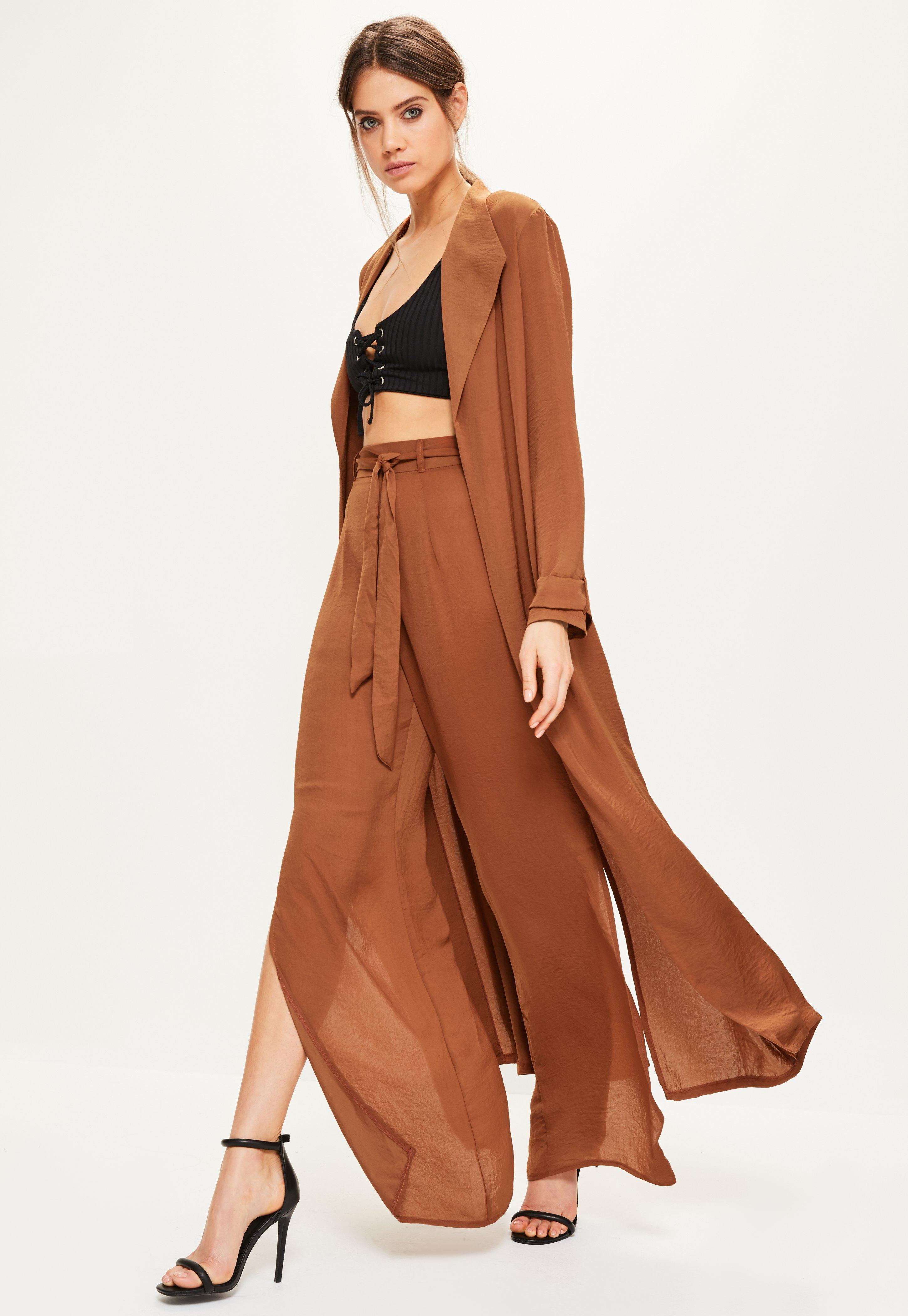 Brown Satin Split Back Duster Jacket | Missguided Ireland