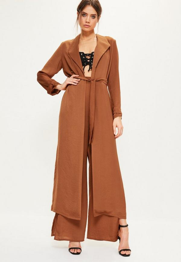Brown Satin Split Back Duster Jacket | Missguided