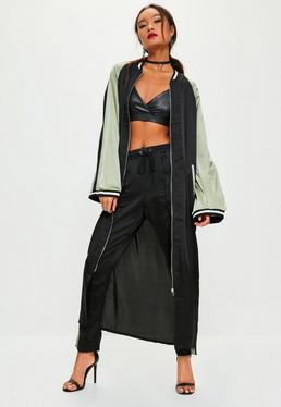 Black Sports Cuffed Longline Bomber Jacket