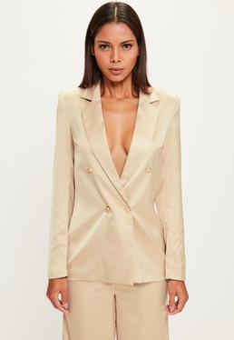 Peace + Love Nude Long Sleeve Double Breasted Blazer
