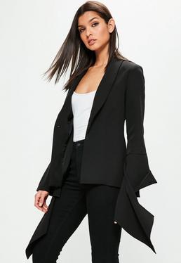 Black Extreme Ruffle Sleeve Crepe Blazer