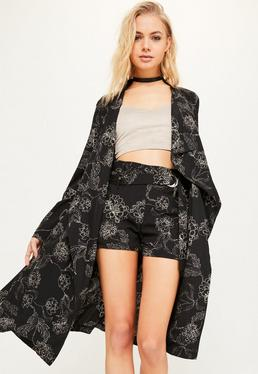 Black Floral Print Chiffon Duster Jacket