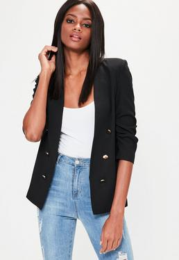 Black Crepe Gathered Sleeve Button Blazer
