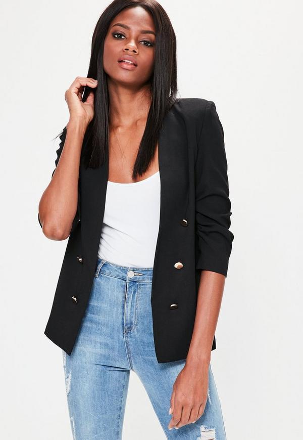 Black Crepe Gathered Sleeve Button Blazer