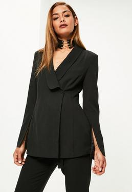 Black Button Side Curve Lapel Blazer