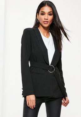 Black Ring Belted Blazer