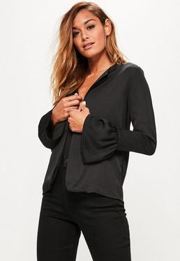 Black Hammered Satin Frill Sleeve Edge to Edge Jacket