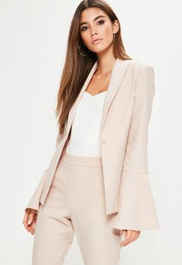 Pink Crepe Curve Lapel Flared Sleeve Blazer