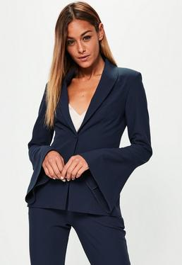 Navy Crepe Curve Lapel Flared Sleeve Blazer