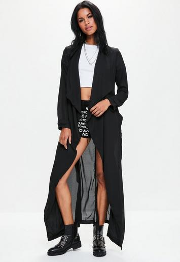 Black Chiffon Longline Duster Jacket Missguided