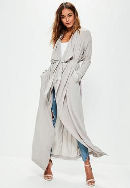Grey Chiffon Longline Duster Jacket
