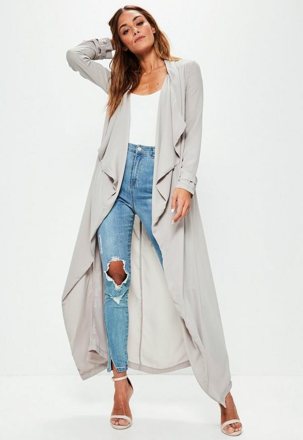 Grey Chiffon Longline Duster Jacket | Missguided