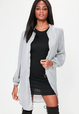 Grey Hammered Satin Longline Bomber Jacket