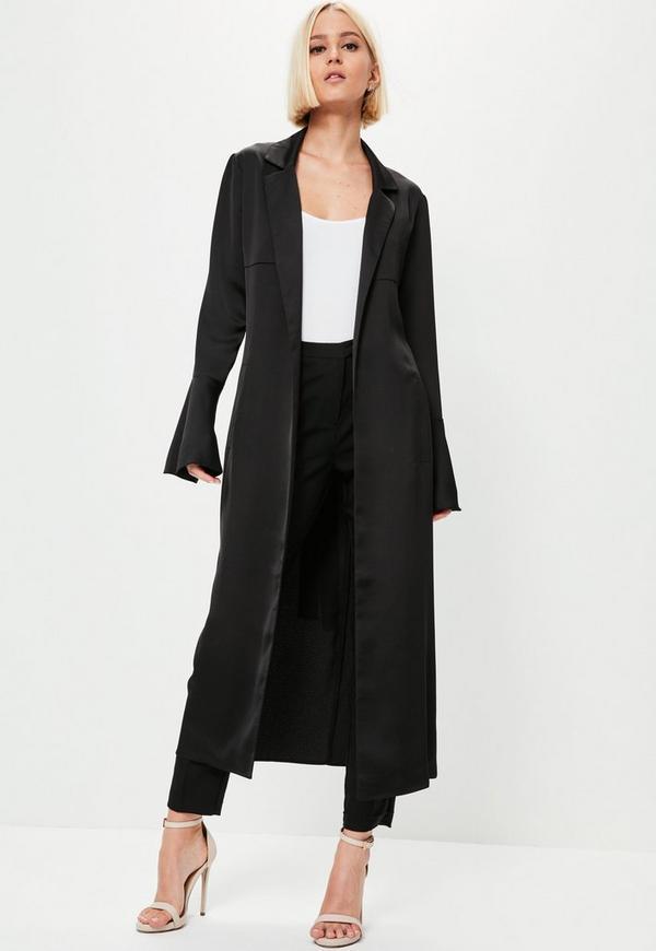 Premium Black Satin Flare Sleeve Duster Jacket