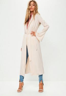 Premium Nude Satin Flared Sleeve Duster Jacket