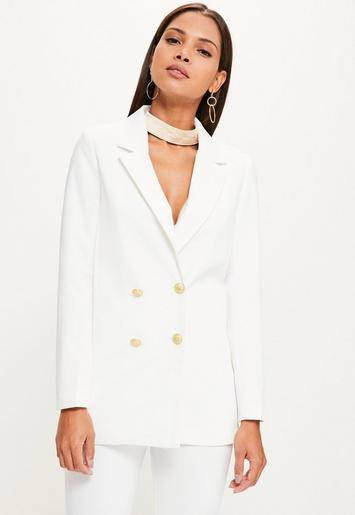white crepe oversized button detail blazer missguided. Black Bedroom Furniture Sets. Home Design Ideas