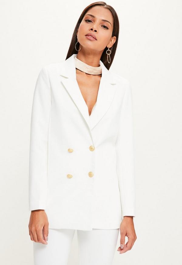 White Crepe Oversized Button Detail Blazer