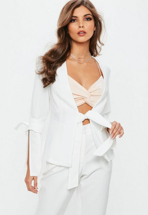 White Crepe Bow Sleeve Tie Waist Blazer