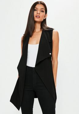 Black Waterfall Tie Waist Sleeveless Blazer
