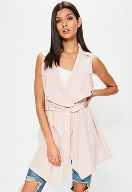 Nude Waterfall Tie Waist Sleeveless Blazer