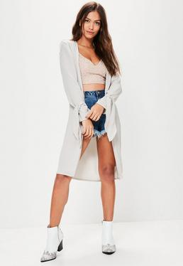 Grey Crepe Tie Sleeve Duster Jacket