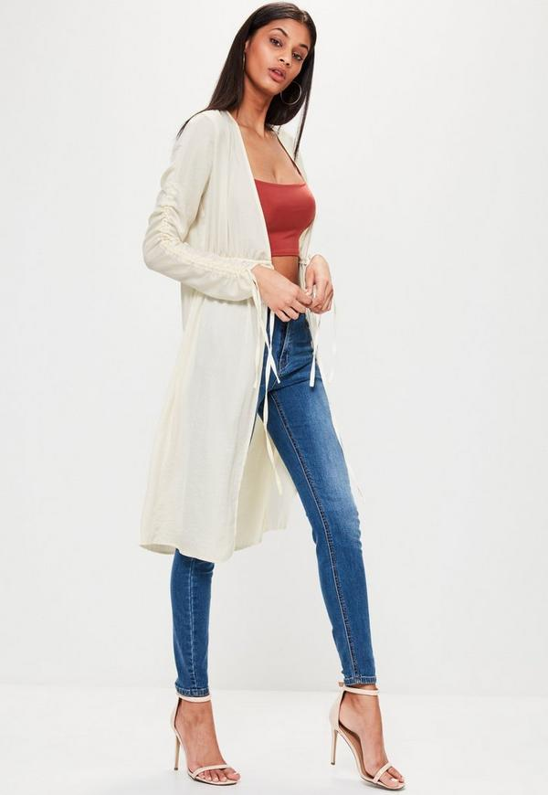 Cream Hammered Satin Gathered Sleeve Duster