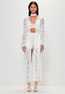 Peace + Love White Long Sleeve Maxi Lace Jacket