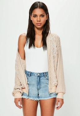 Peace + Love Nude Embellished Pearl Bomber Jacket