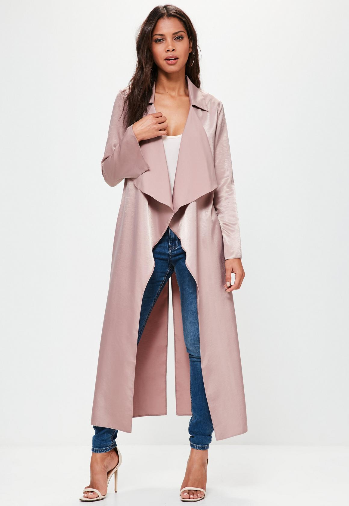 Premium Pink Hammered Satin Waterfall Duster Jacket | Missguided