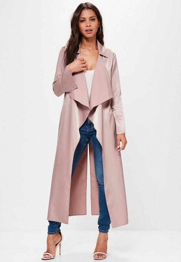 Premium Pink Hammered Satin Waterfall Duster Jacket