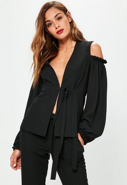 Black Cold Shoulder Frill Detail Blazer