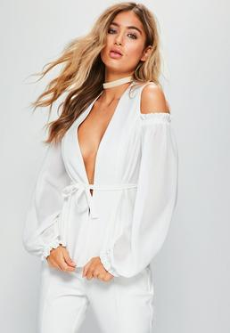 White Cold Shoulder Frill Detail Blazer