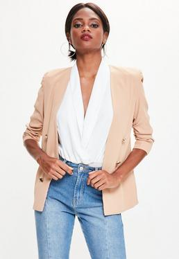 Nude Crepe Gathered Sleeve Button Blazer