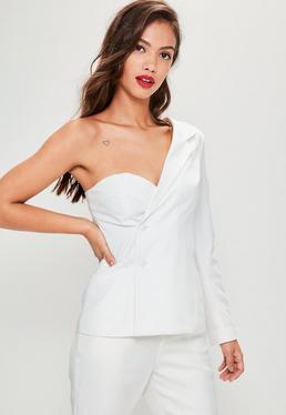 White One Sleeve Crepe Blazer
