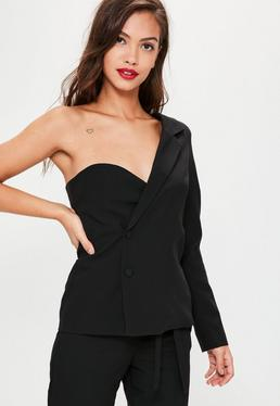 Black One Sleeve Crepe Blazer